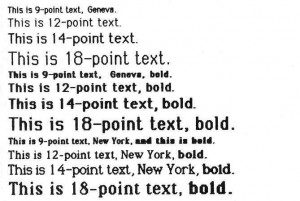 A sample printout from the Macintosh using its printer and the MacWrite word-processing program. The printout was obtained using MacWrite's high-quality output mode, as opposed to the draft and ordinary quality modes. The output here is shown at 100 percent of actual size