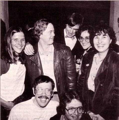 Rony Sebok, Burrell Smith, Steve Jobs, Joanna Hoffman and Hasmig Seropian; kneeling is Bill Atkinson and Andy Hertzfeld