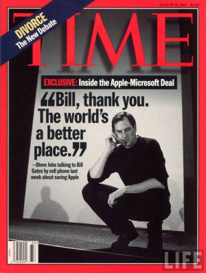 """""""Bill, thank you"""" - Steve Jobs on the cover of Time Magazine"""
