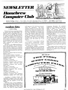 The Homebrew Computer Club newsletter