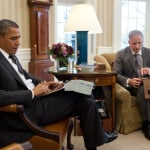 President Barack Obama receives the Presidential Daily Briefing on an iPad