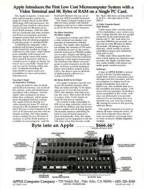 Introductory advertisement for the Apple I Computer