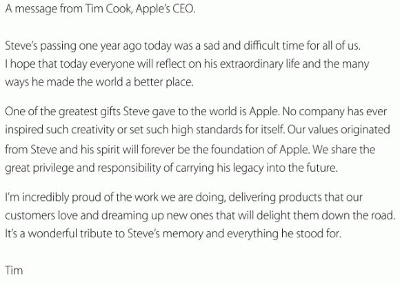Tim Cook remembers Steve Jobs